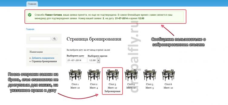Сообщение пользователю о забронированном столике