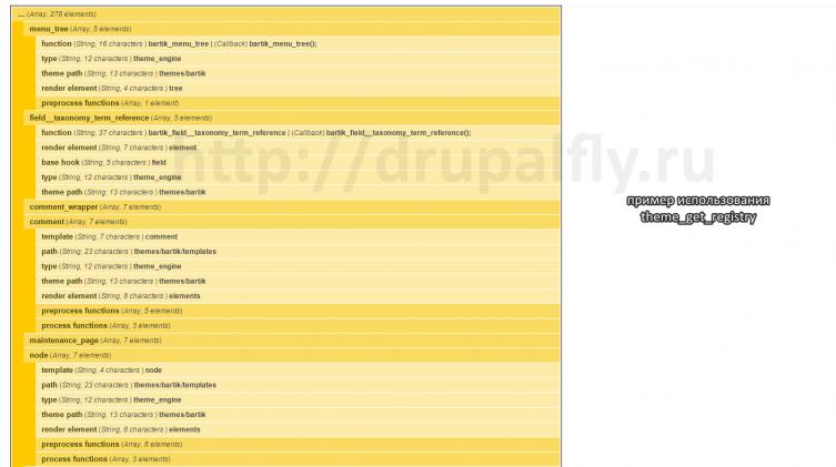 Пример использования theme_get_registry